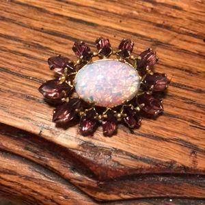 Purple & opal look glass brooch